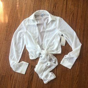 Tobi White Wrap Tie Blouse